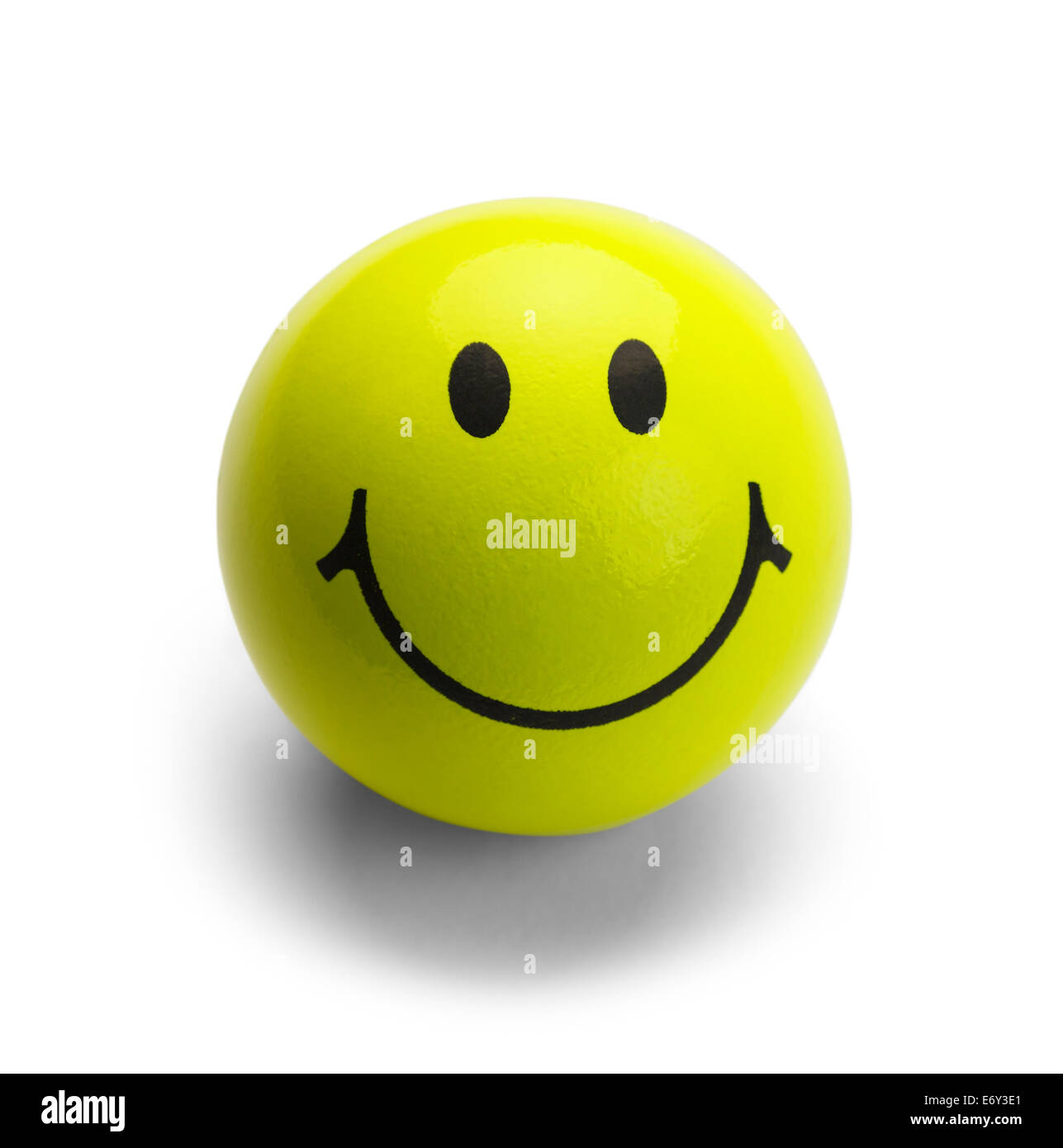 Round Ball with Smile Isolated on White Background. - Stock Image