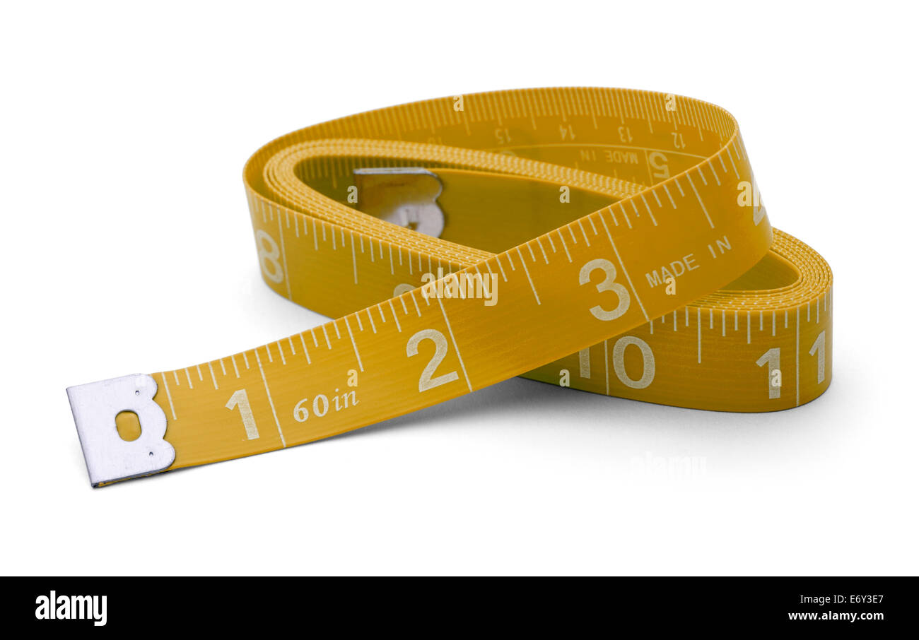 Sewing tape measure wound up in inches Isolated on White Background. - Stock Image