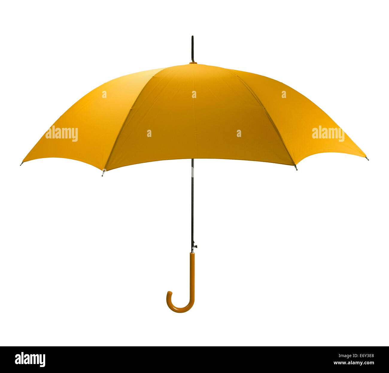 Bright Yellow Umbrella Tilted Isolated on White Background. - Stock Image