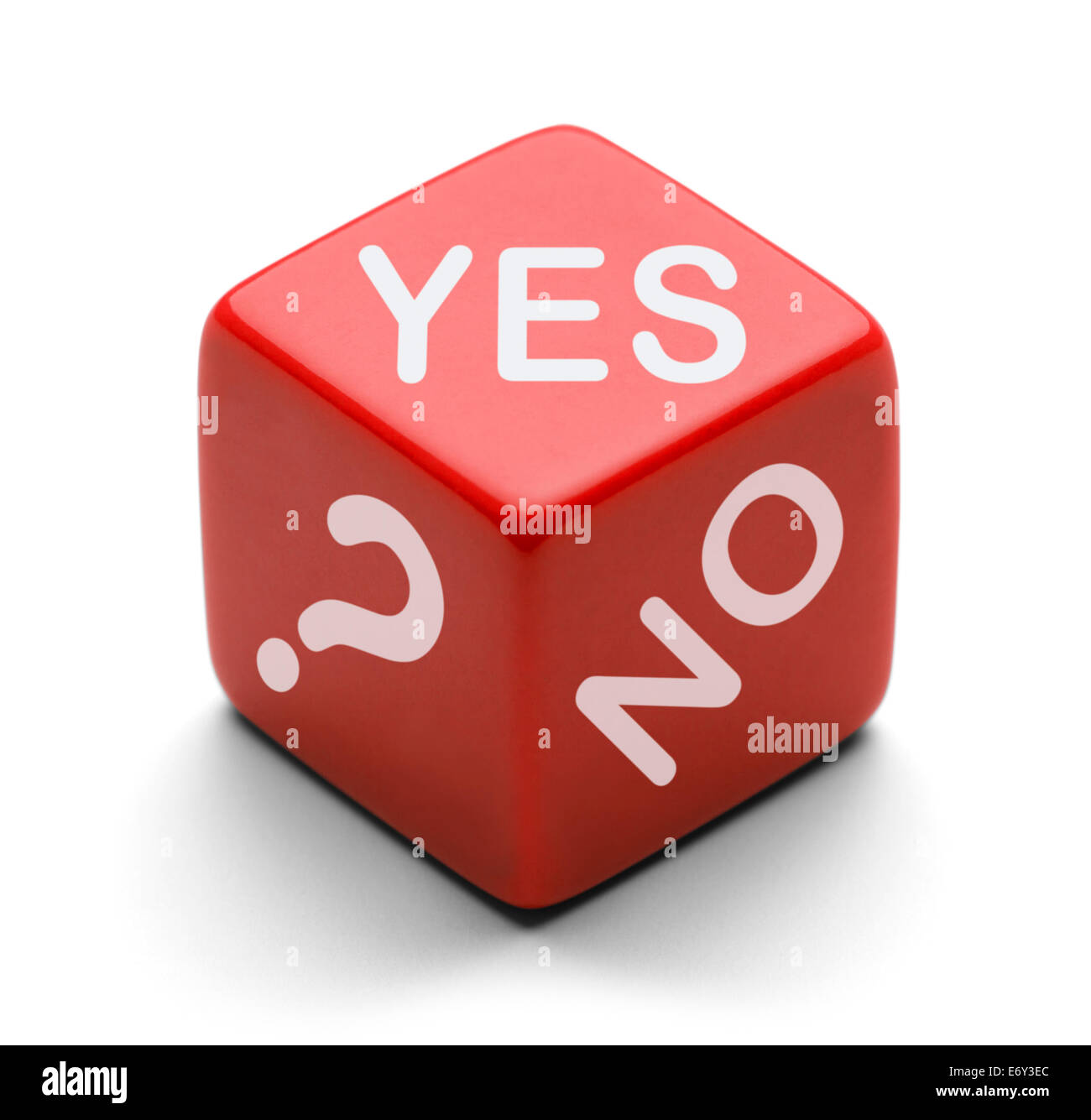 Red Dice with words Yes, No, and Question Mark ? Isolated on a White  Back Ground. - Stock Image