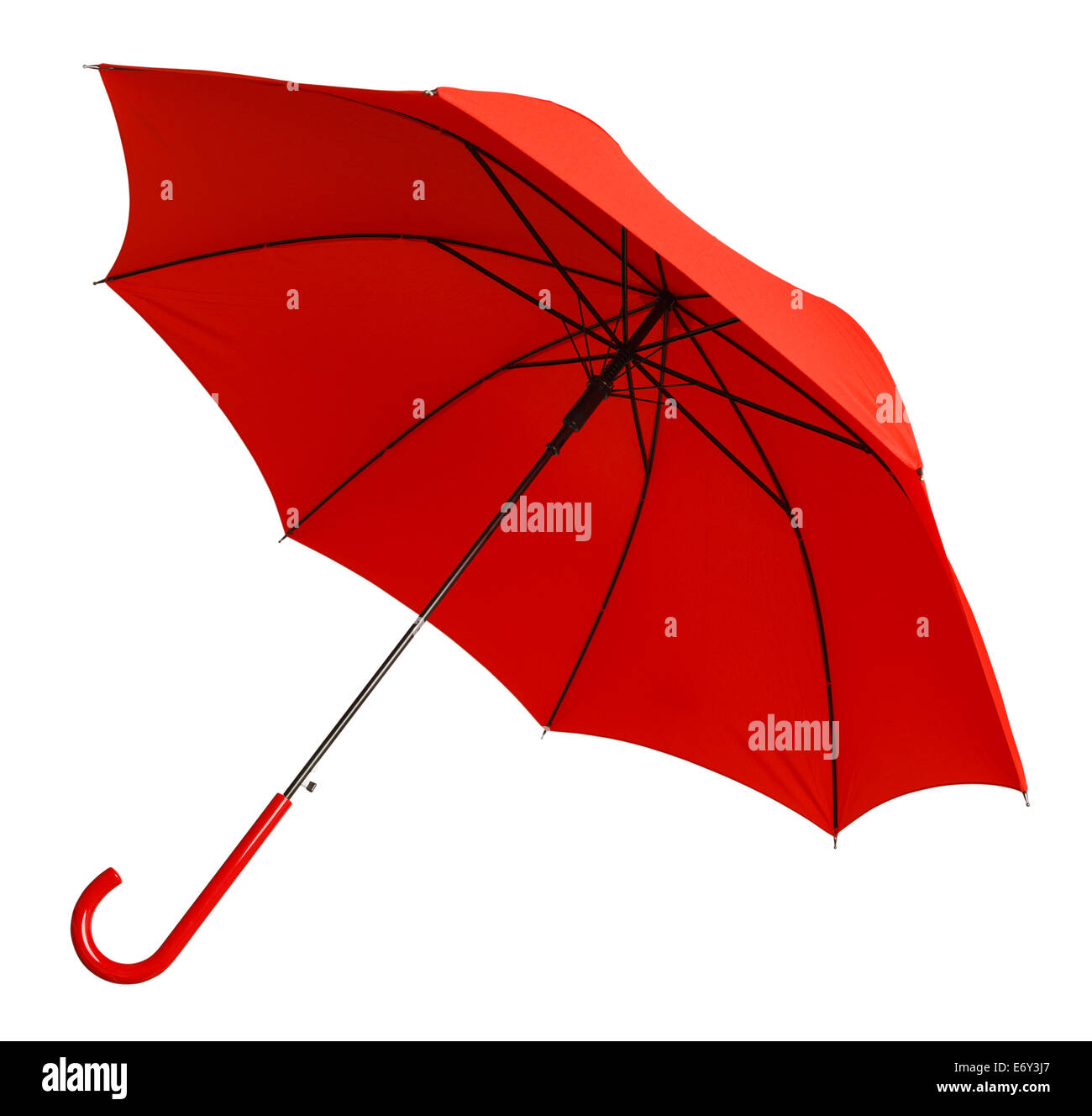 Bright Red Umbrella Tilted Isolated on White Background. - Stock Image