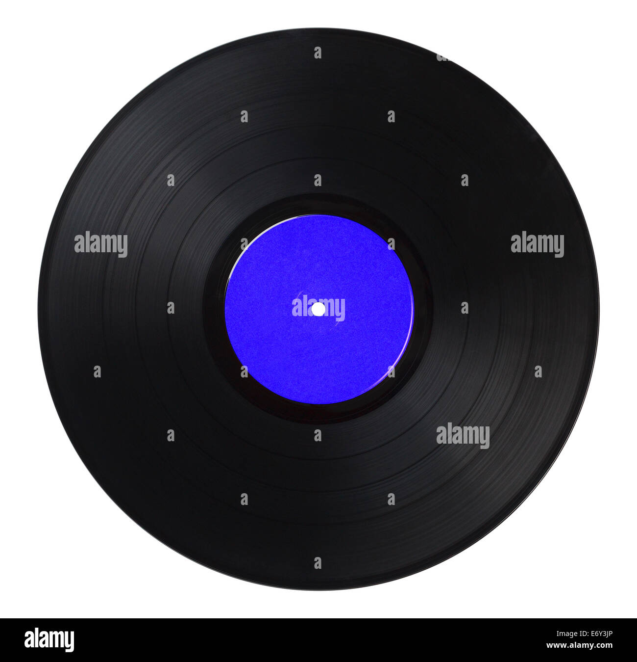 Black Music Record With Blue Label Isolated on White Background. - Stock Image
