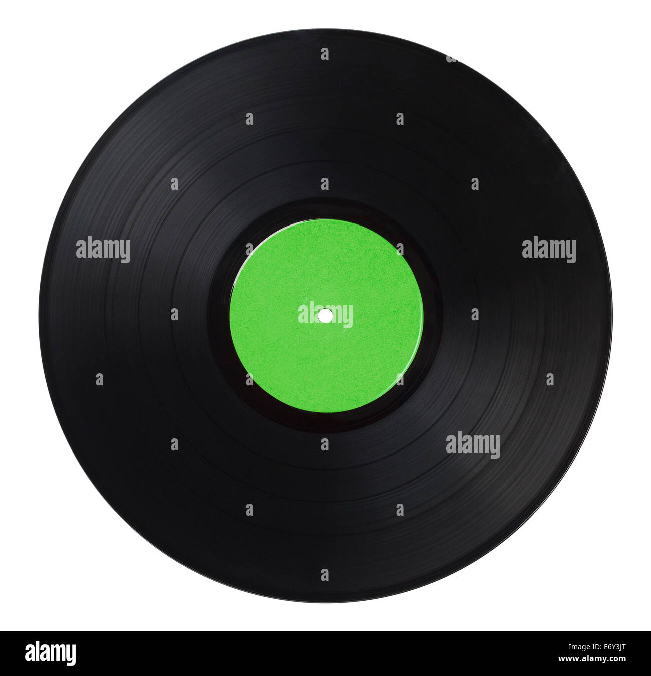 Black Music Record With Green Label Isolated on White Background. - Stock Image