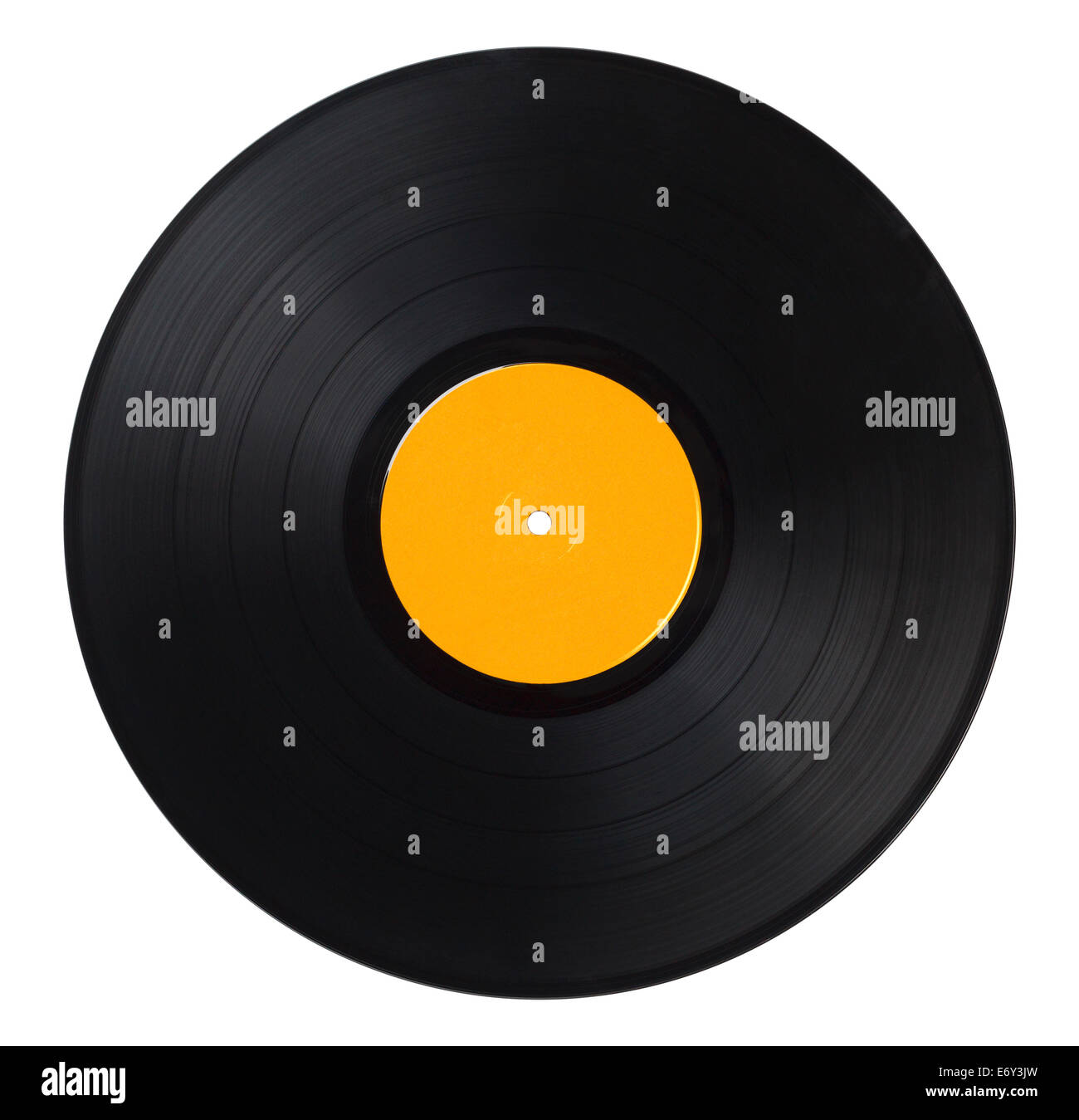 Black Music Record With Yellow Label Isolated on White Background. - Stock Image