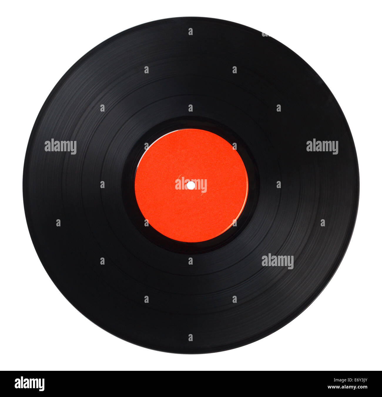 Black Music Record With Red Label Isolated on White Background. - Stock Image