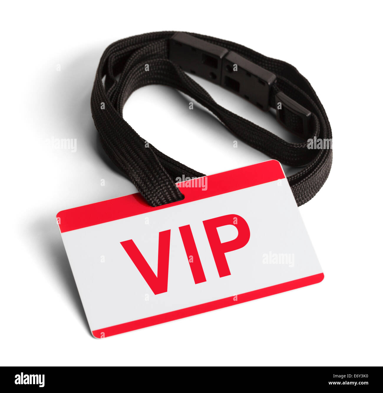 Red and White VIP ID Card Isolated on White Background. - Stock Image