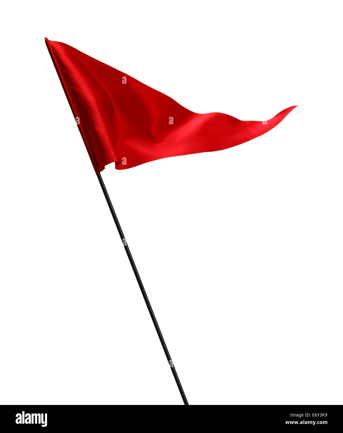 Red Flag Waving in the Wind on Pole Isolated on White Background. - Stock Image