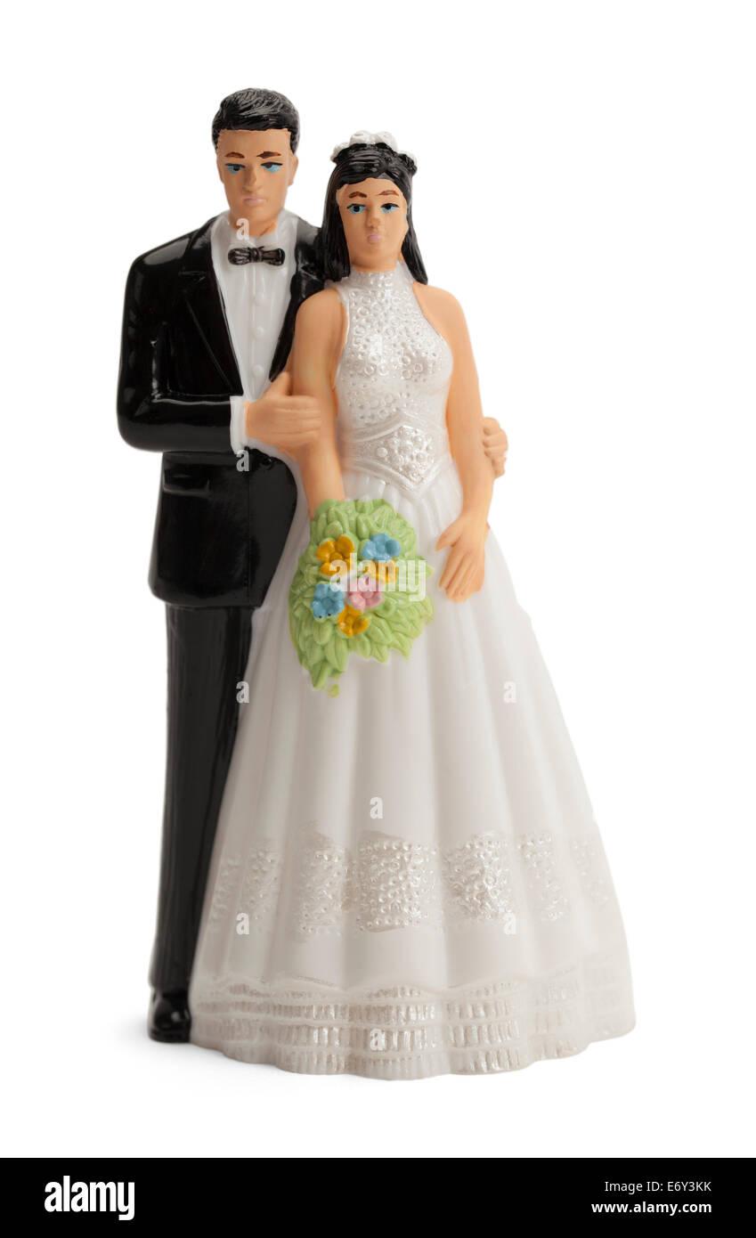 Wedding Cake Topper Isolated on White Background. - Stock Image