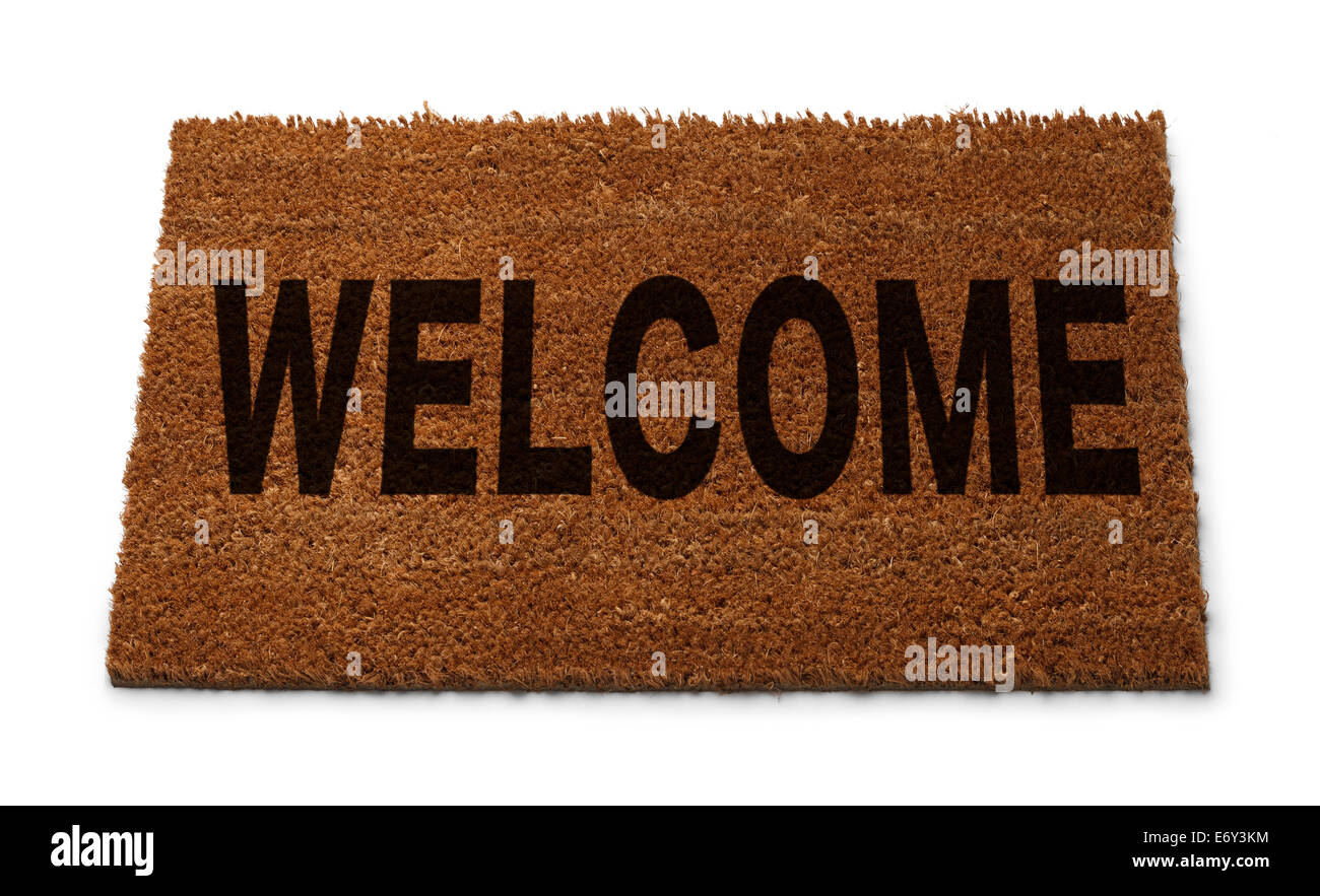 Natural Brown Door Mat with Welcome on it Isolated on White Background. - Stock Image