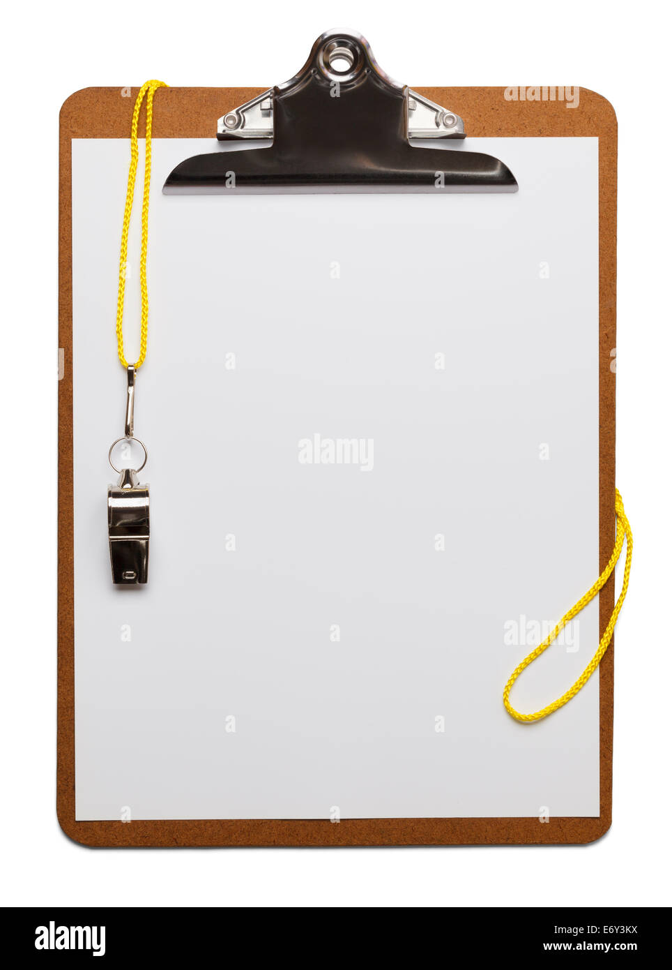 Blank clipboard with whistle on isolated white background. - Stock Image