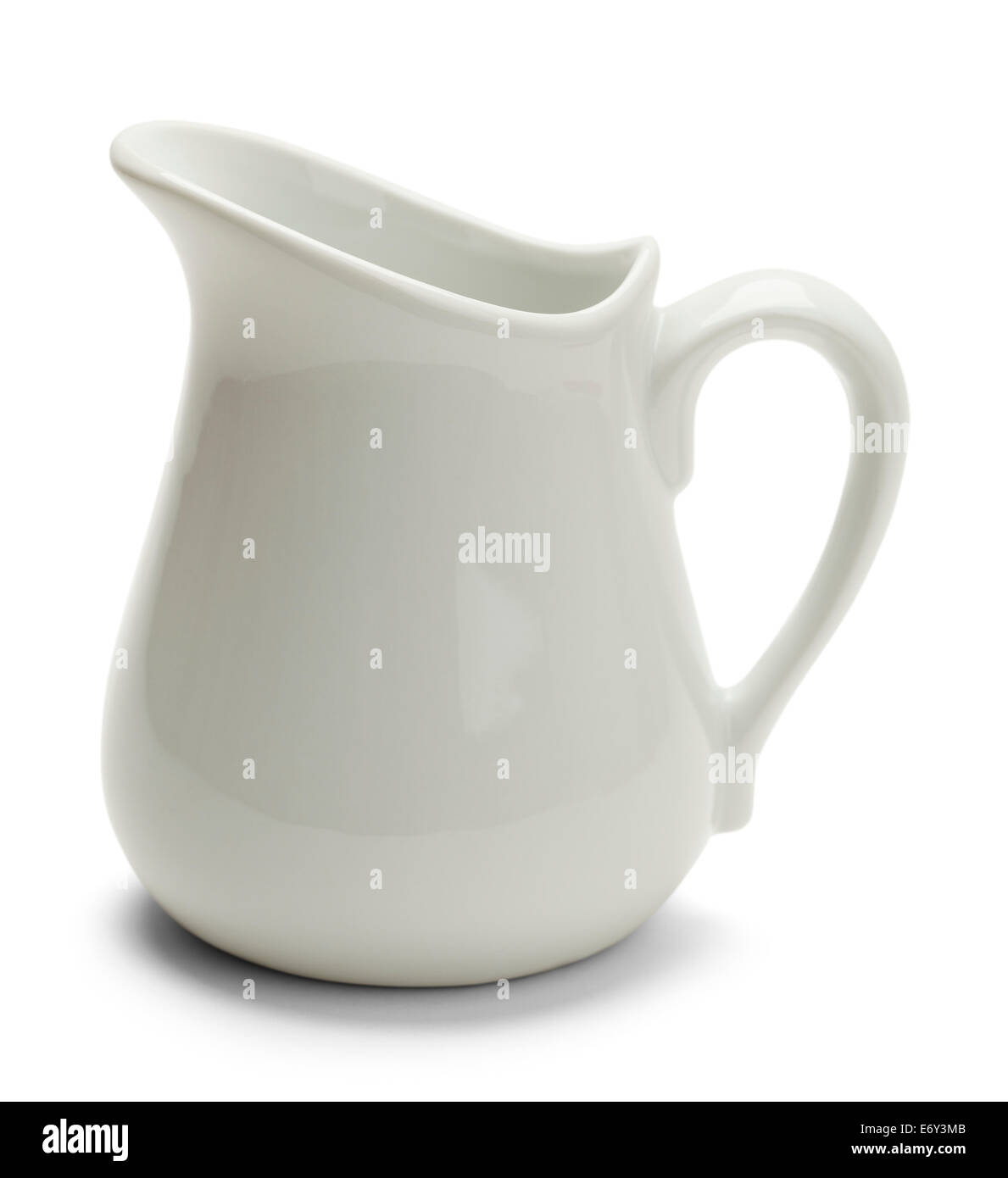 Ceramic Glass Pitcher From Side View Isolated on White Background. - Stock Image