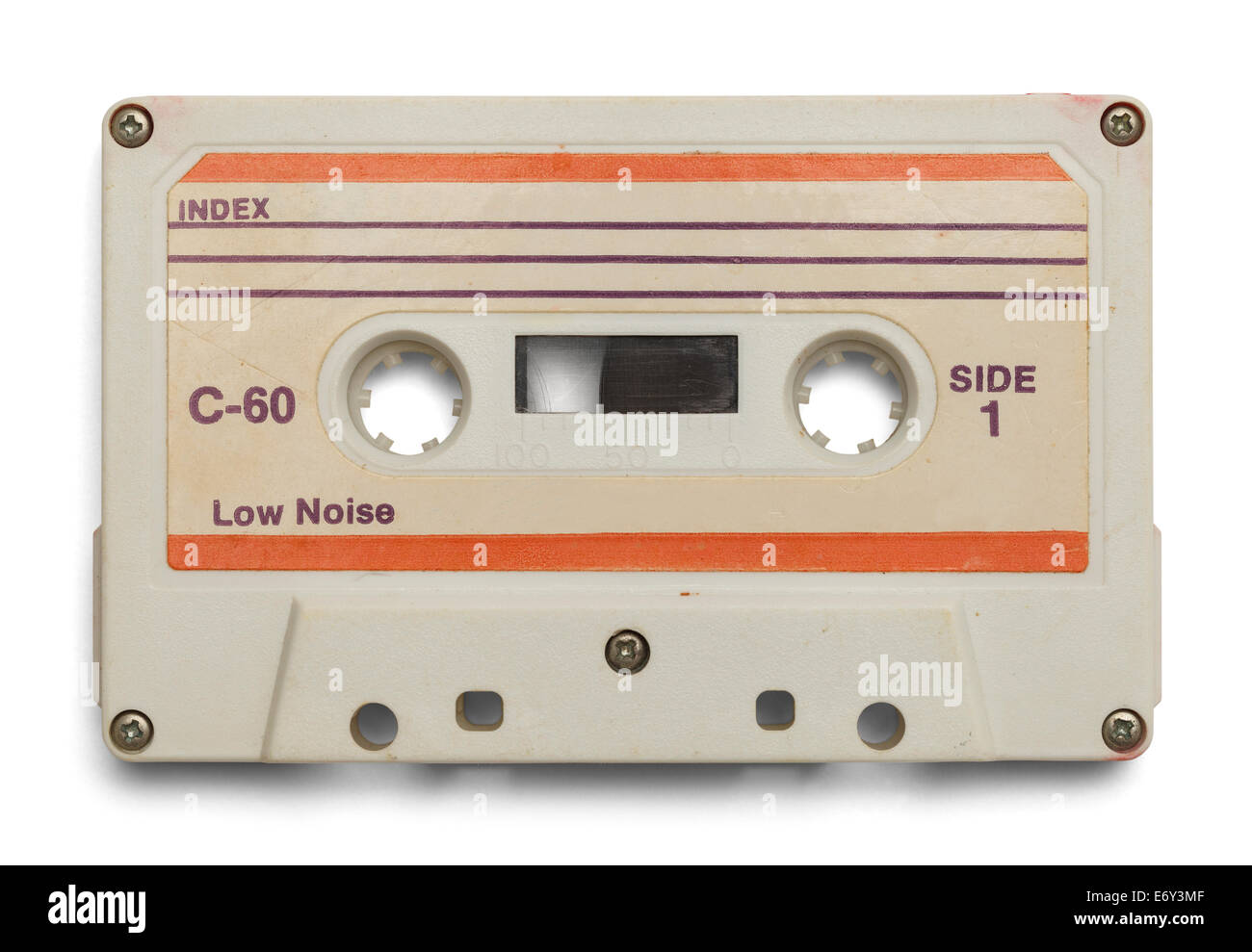 Old Cassette With Copy Space Isolated on White Background. - Stock Image