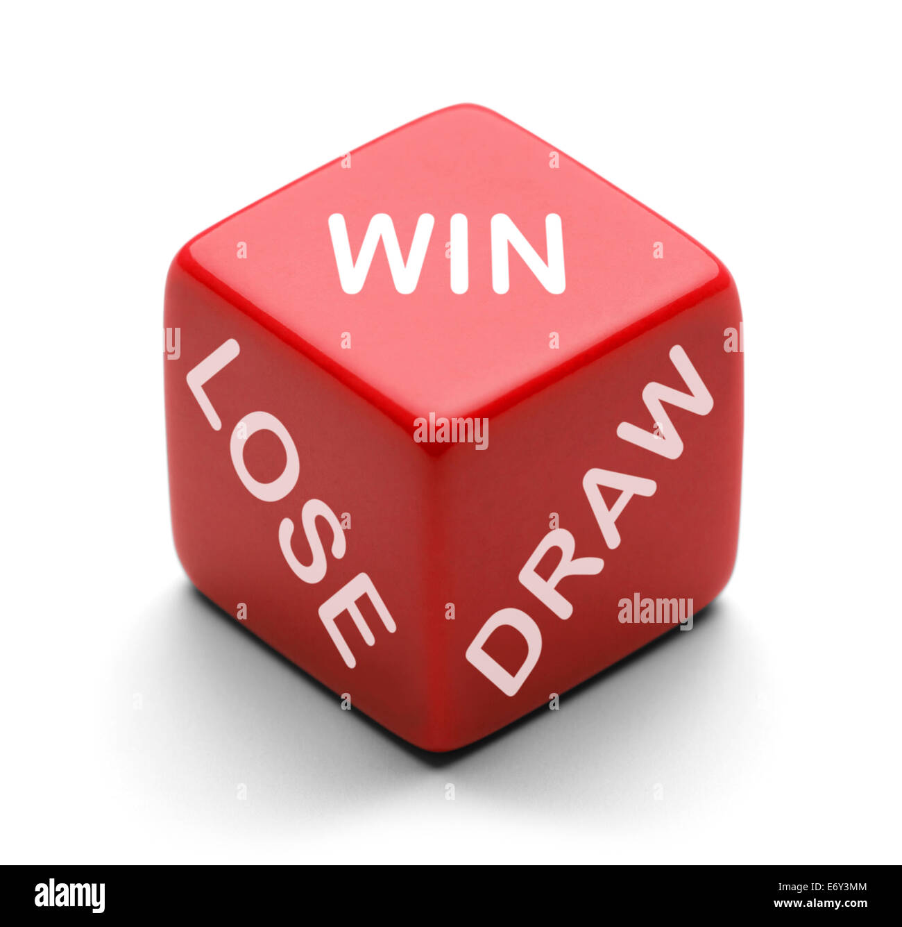 Red Dice with the words Win, Lose and Draw on it  Isolated on a White Background. - Stock Image