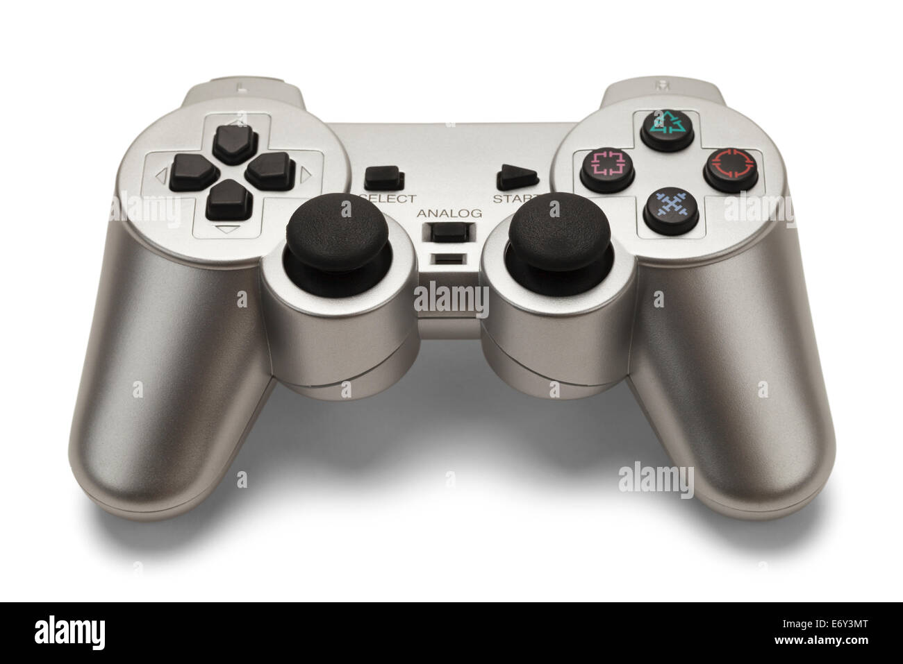 Silver Hand Held Game Controller Isolated on White Background. - Stock Image