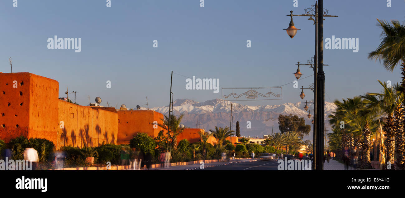 Rampart walls along the Route d'Ourika, Marrakech, Morocco - Stock Image