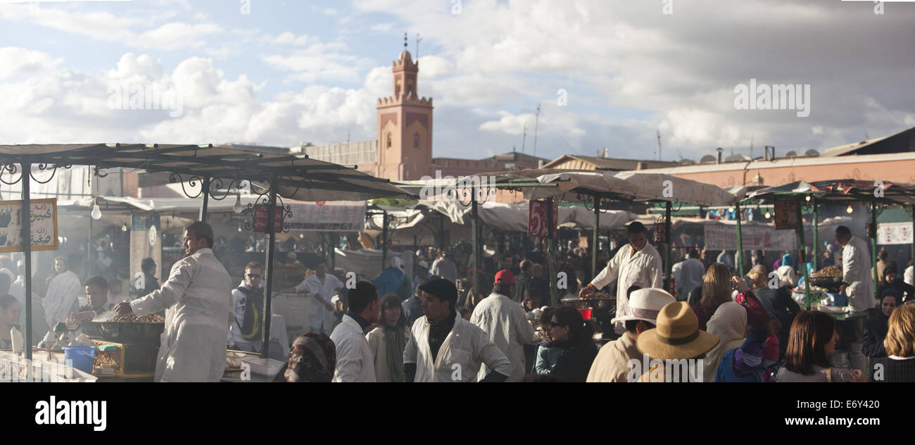 Open air kitchens and stalls on Jemaa El Fna, Marrakech, Morocco - Stock Image