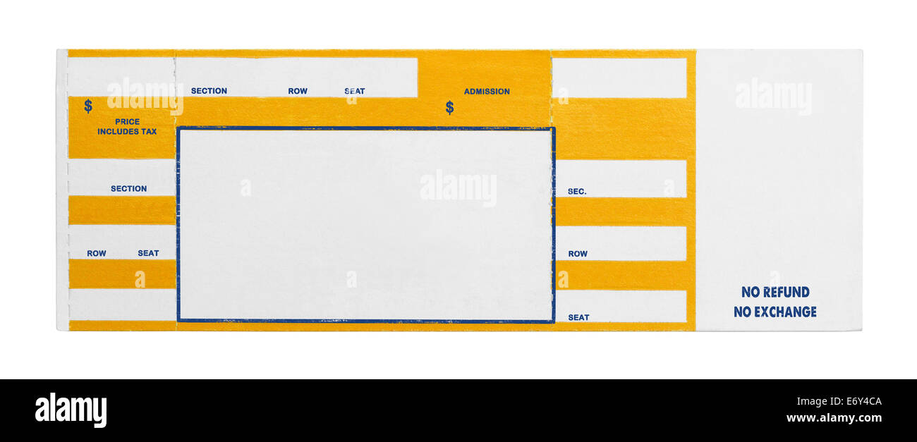 Blank Yellow Concert Performance Ticket Isolated on White Background. - Stock Image