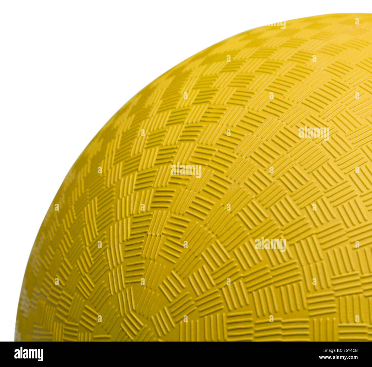 Close up Section of Yellow Dodge Ball Isolated on White Background. - Stock Image
