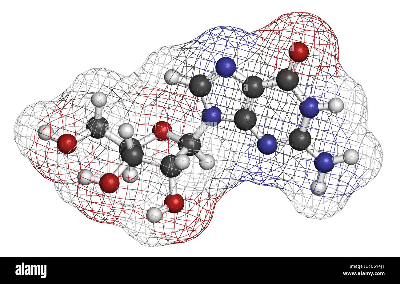 Guanosine purine nucleoside molecule. Important component of GTP, GDP, cGMP, GMP and RNA. Atoms are represented - Stock Image
