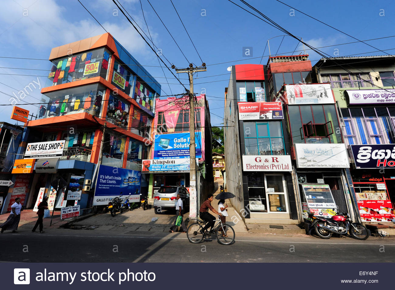 Street in the modern city centre of Galle, Southern Province, Ceylon, Sri Lanka, Asia - Stock Image
