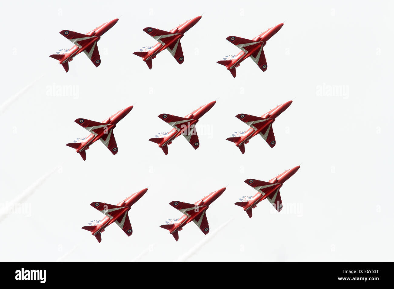 The RAF Aerobatic Team, The Red Arrows, is one of the world's premier aerobatic display teams, Hawk Jets, RAF - Stock Image