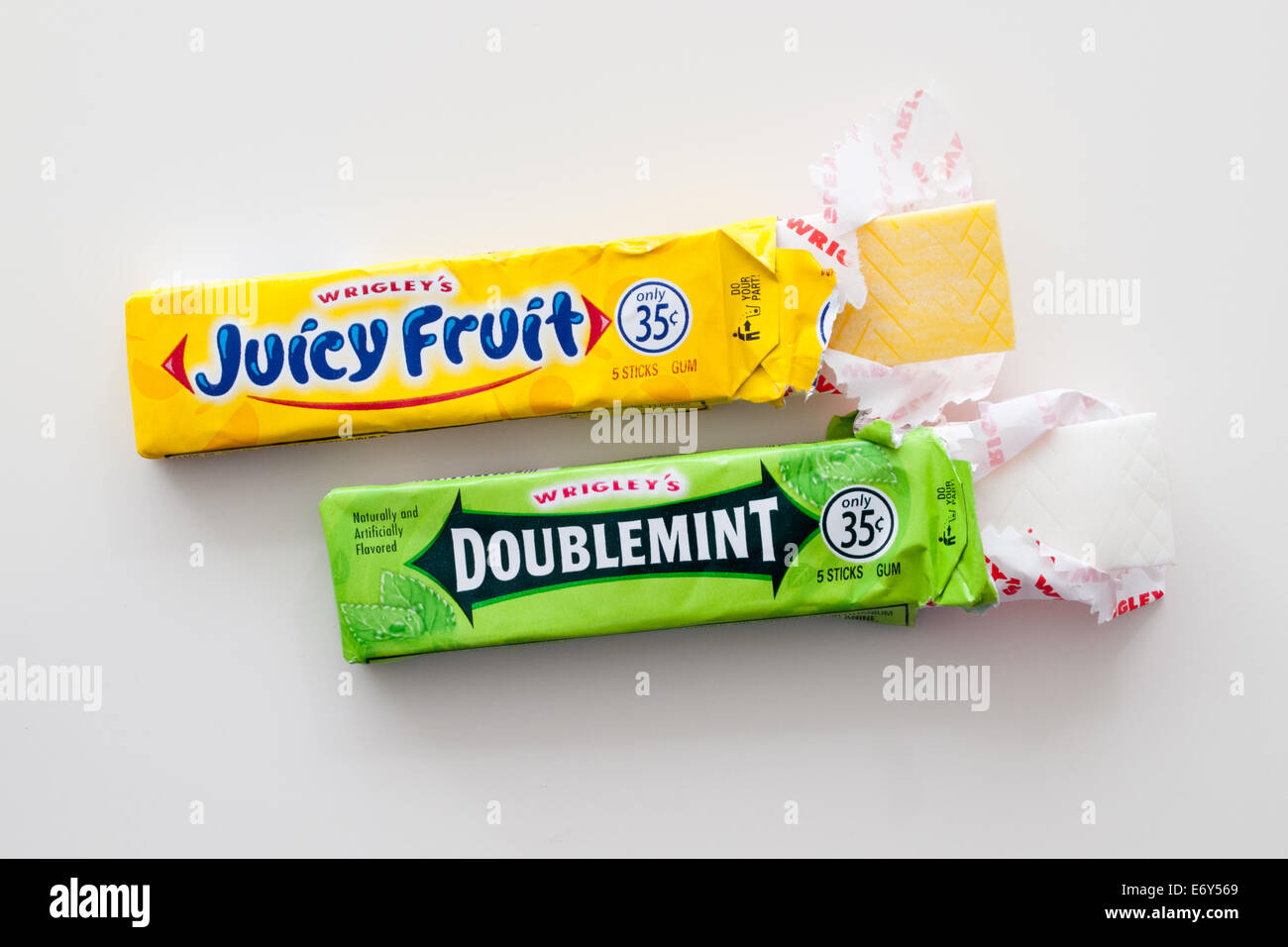 Juicy Fruit and Doublemint chewing gum, manufactured by the Wrigley Company, a division of Mars Inc. - Stock Image