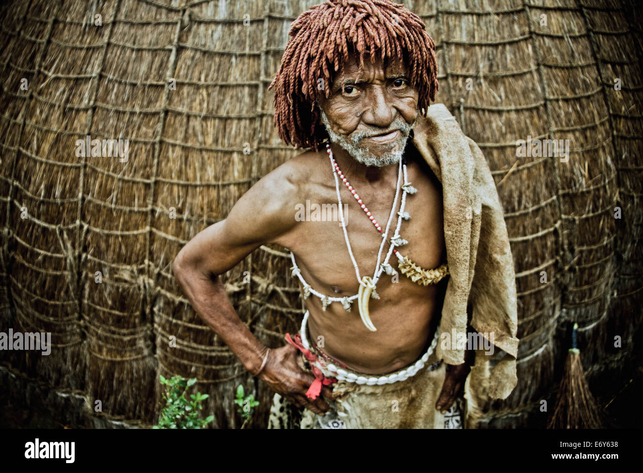 Traditional healer of a Swazi village in front of his grass hut, Swaziland, Africa - Stock Image