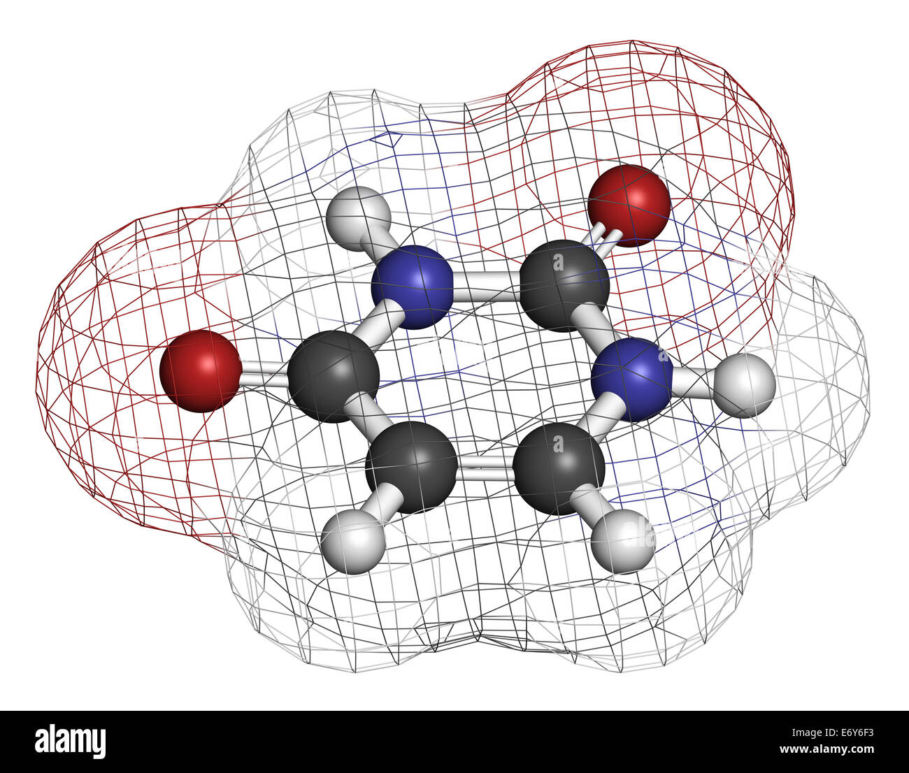 Uracil (U) nucleobase molecule. Present in ribonucleic acid (RNA). Atoms are represented as spheres with conventional - Stock Image