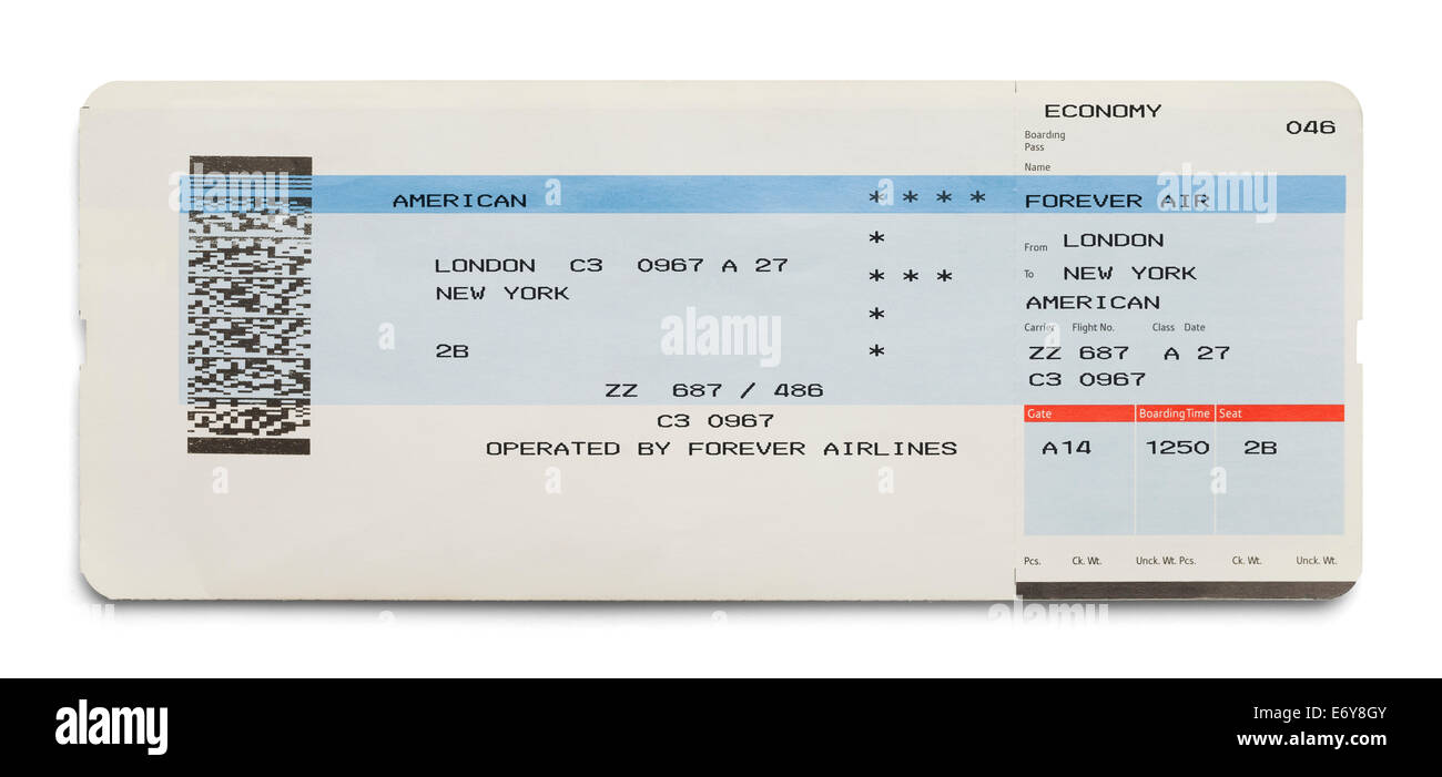 Blue and White London New York Airplane Ticket Isolated on White Background. - Stock Image