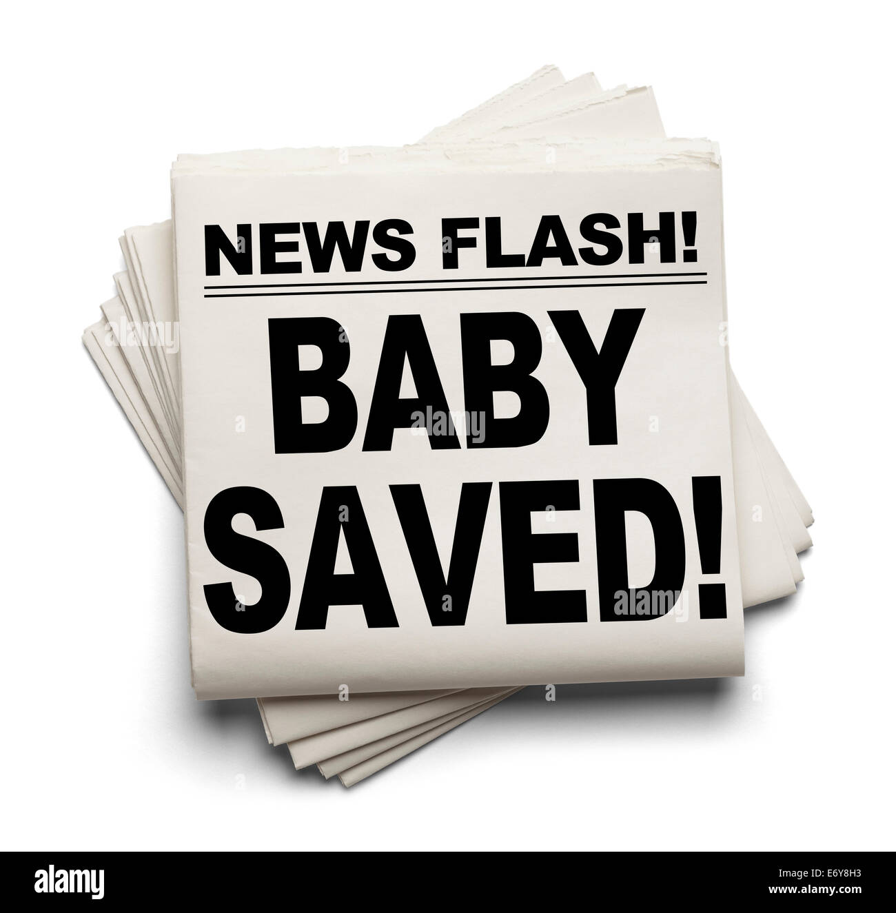 News Flash Baby Saved! News Paper Isolated on White Background. - Stock Image