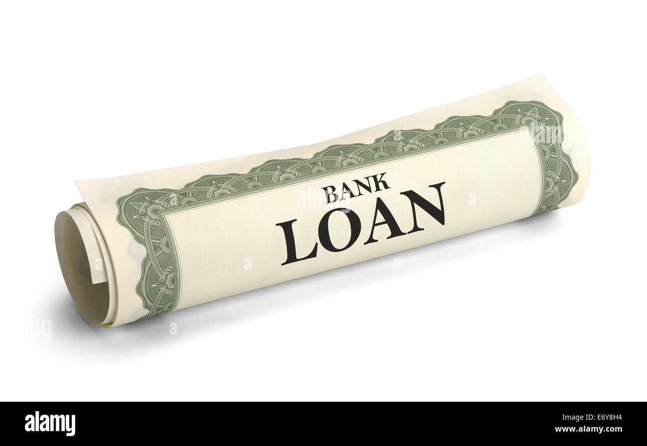 Rolled Bank Loan Document Isolated on White Background. - Stock Image