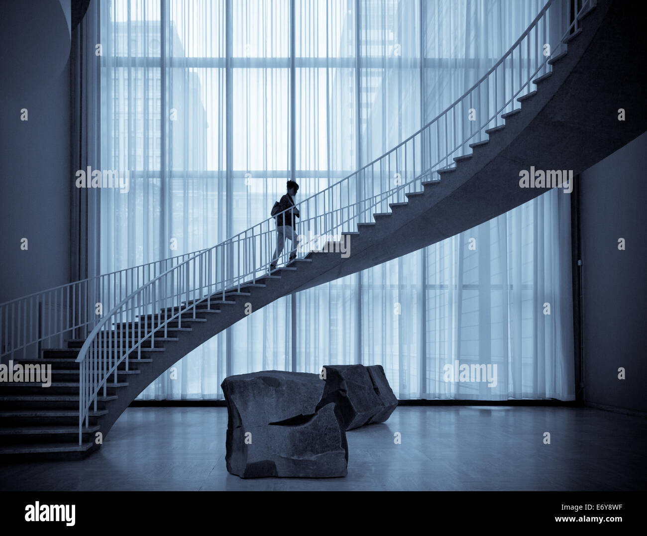 A view of the spiral staircase and the work known as Islands (Shima tachi) by Izumi Masatoshi.  Gallery 135, Art - Stock Image