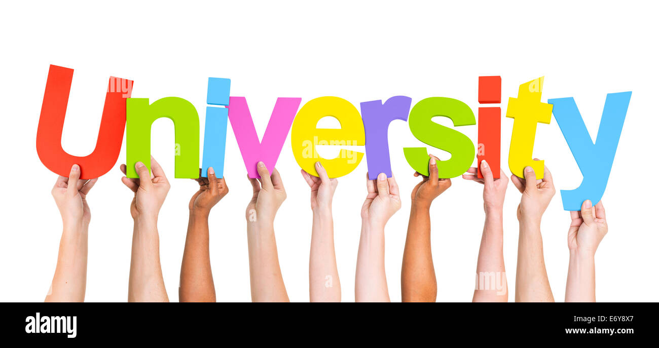 Diverse Hands Holding The Word University - Stock Image