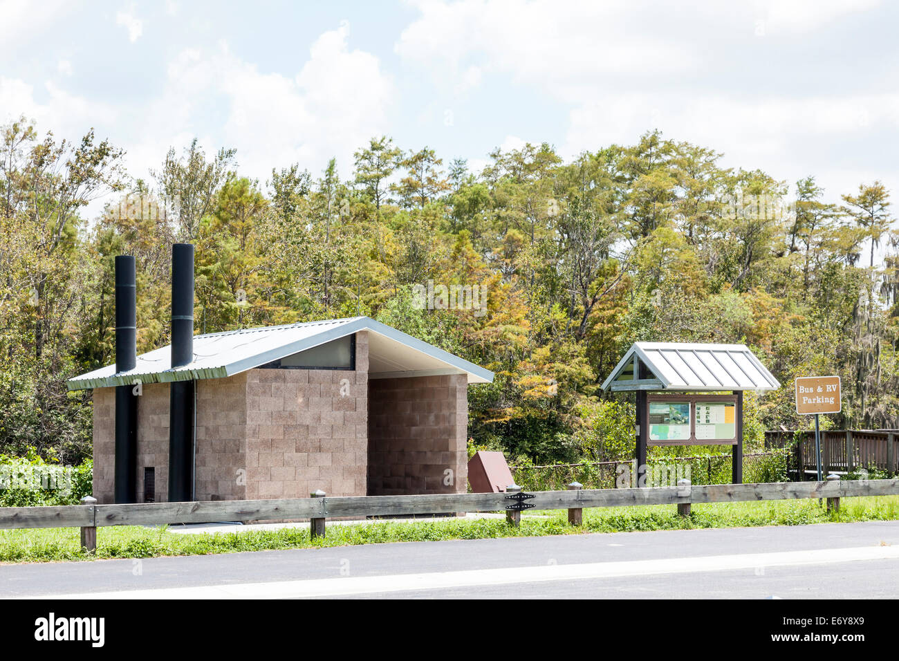 Composting toilet restrooms, rest area, bus and RV parking facilities in Big Cypress Wildlife Management Area in - Stock Image
