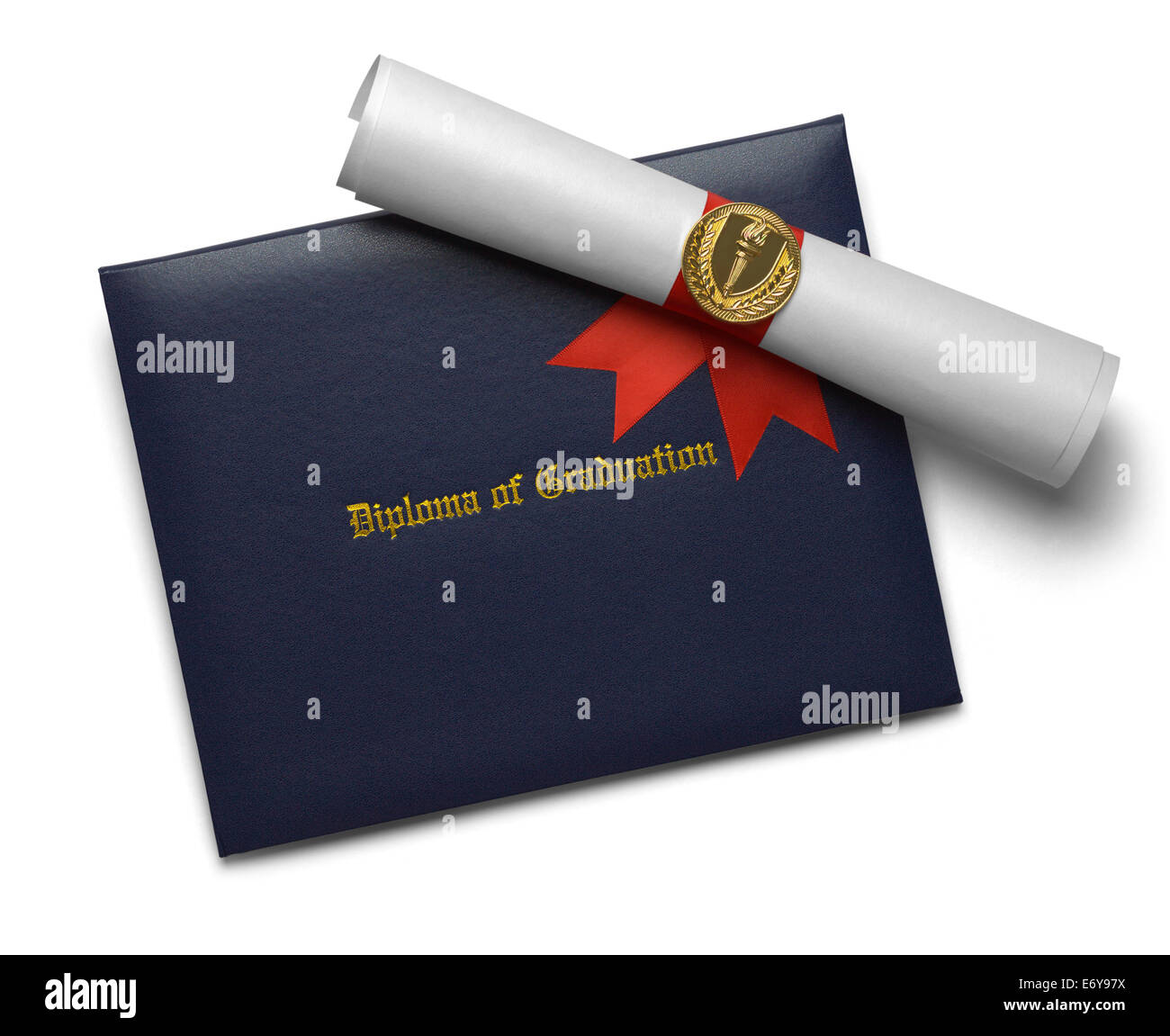 Blue Diploma of Graduation Cover with Degree Scroll and Torch Medal Isolated on White Background. - Stock Image