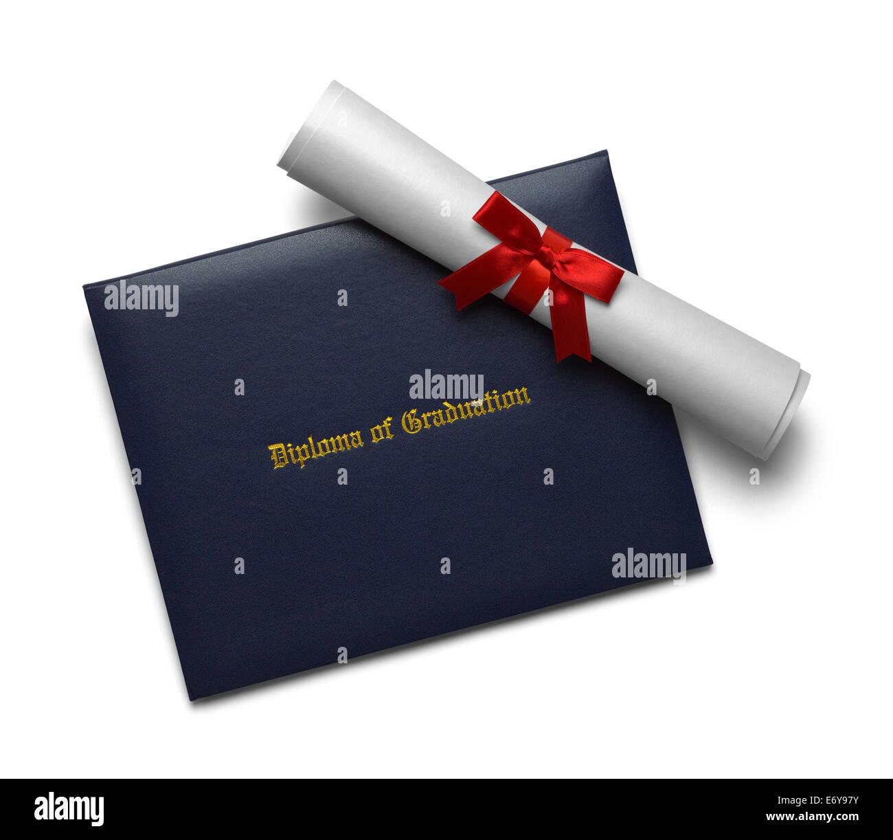 Blue Diploma of Graduation Cover with Degree Scroll Isolated on White Background. Stock Photo