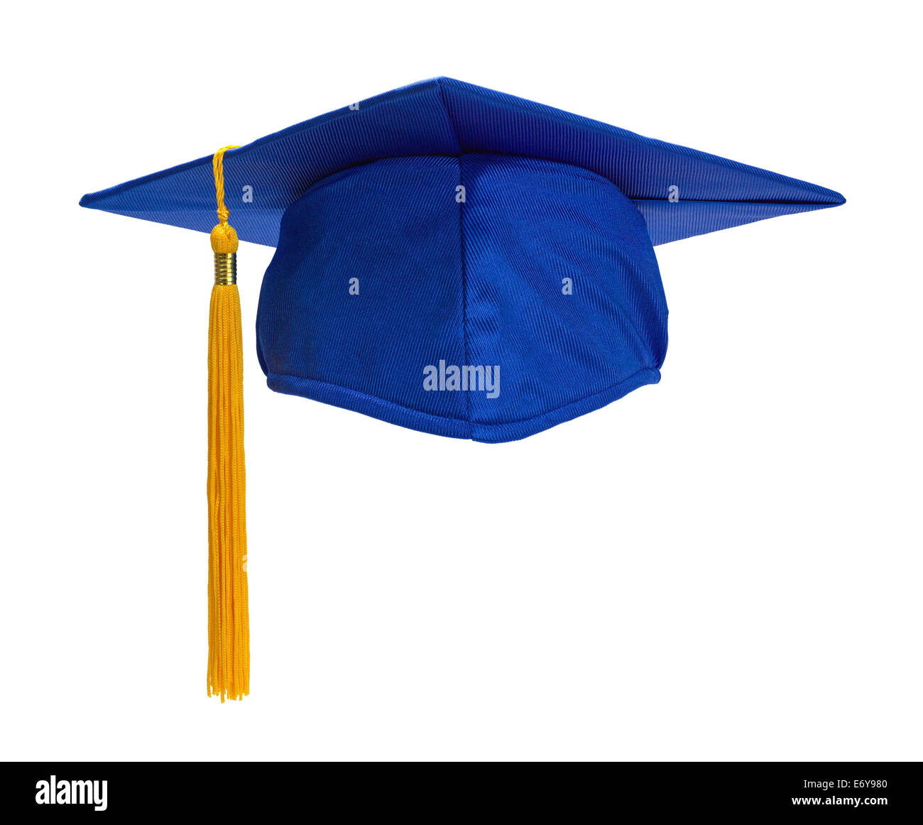 Blue Graduation Hat with Gold Tassel Isolated on White Background. - Stock Image