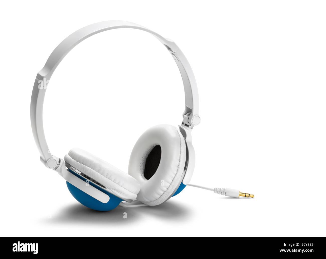 Large Blue and White Headphones Isolated on White Background. - Stock Image