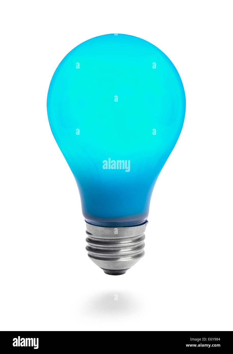 Lit Blue Light Bulb Isolated On White Background Stock Photo