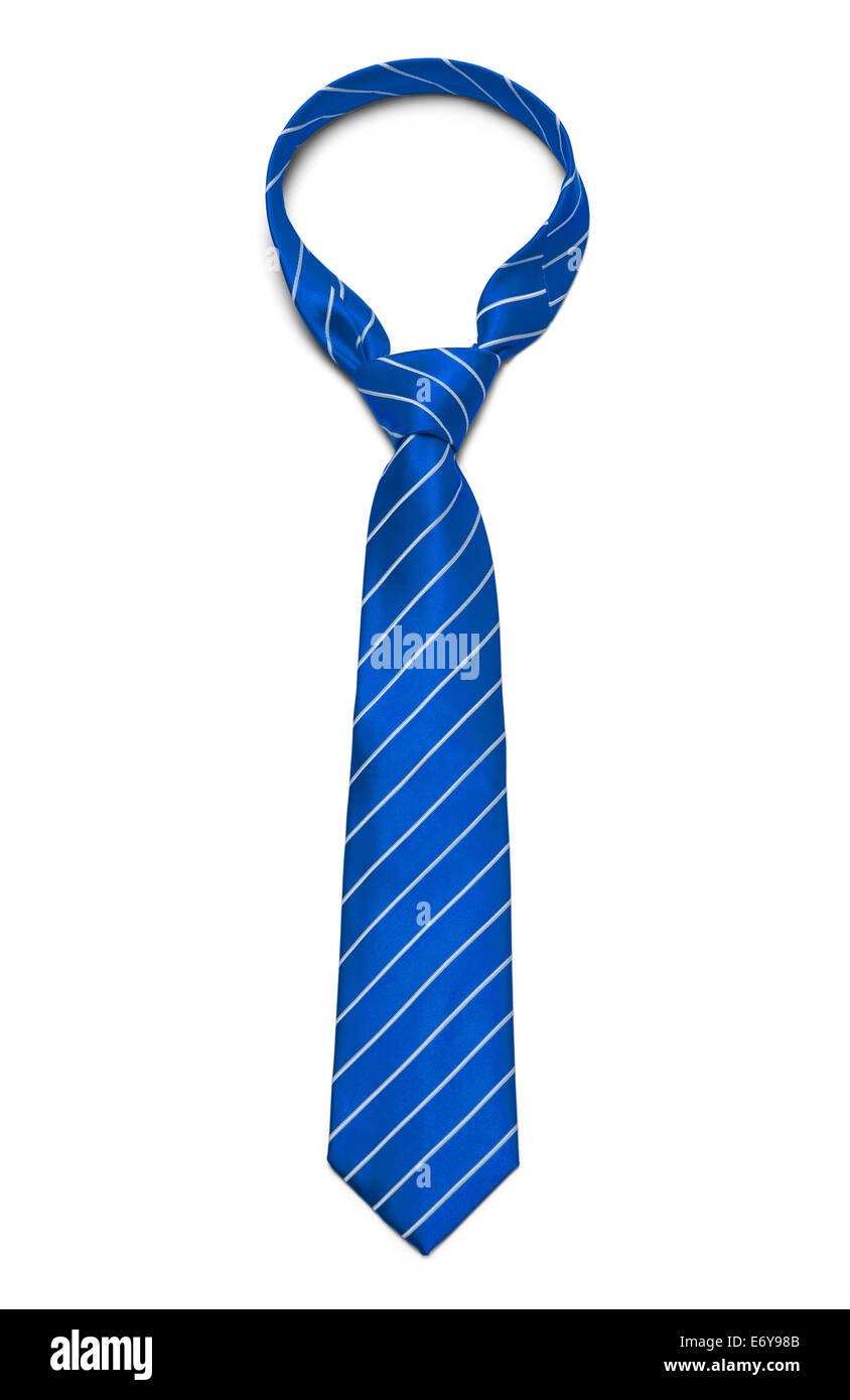 Blue and White Striped Tie Isolated on White Background. - Stock Image
