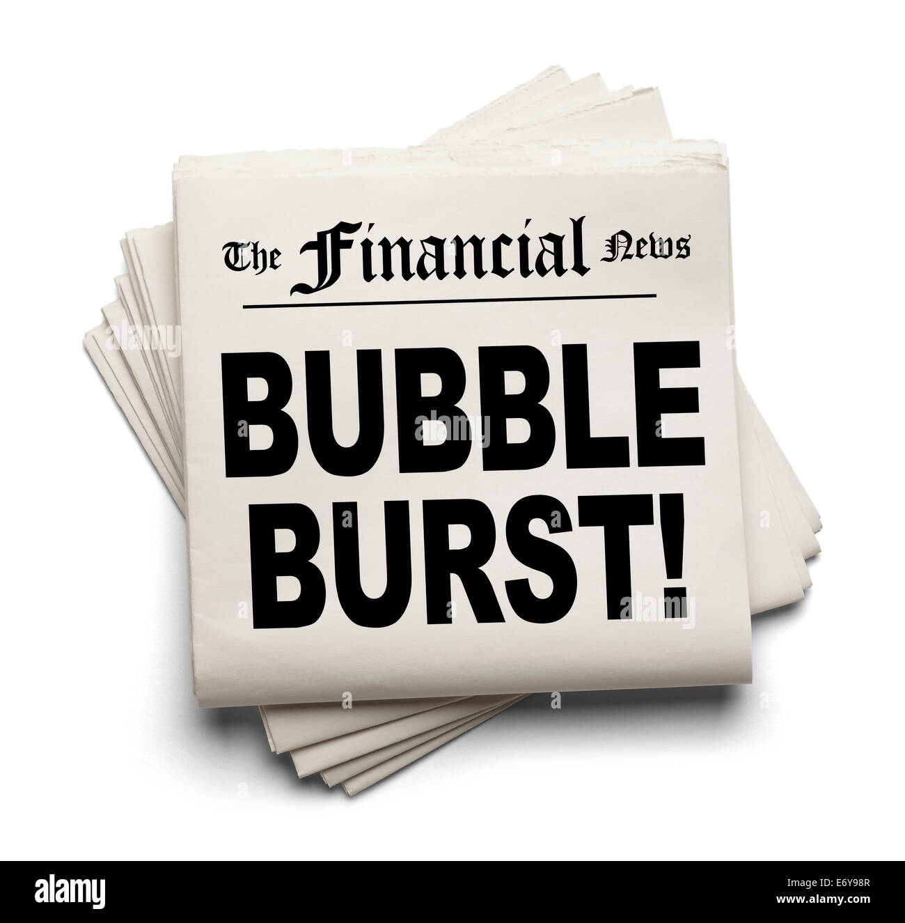 Financial New Paper with Bubble Burst Headline Isolated on White Background. - Stock Image