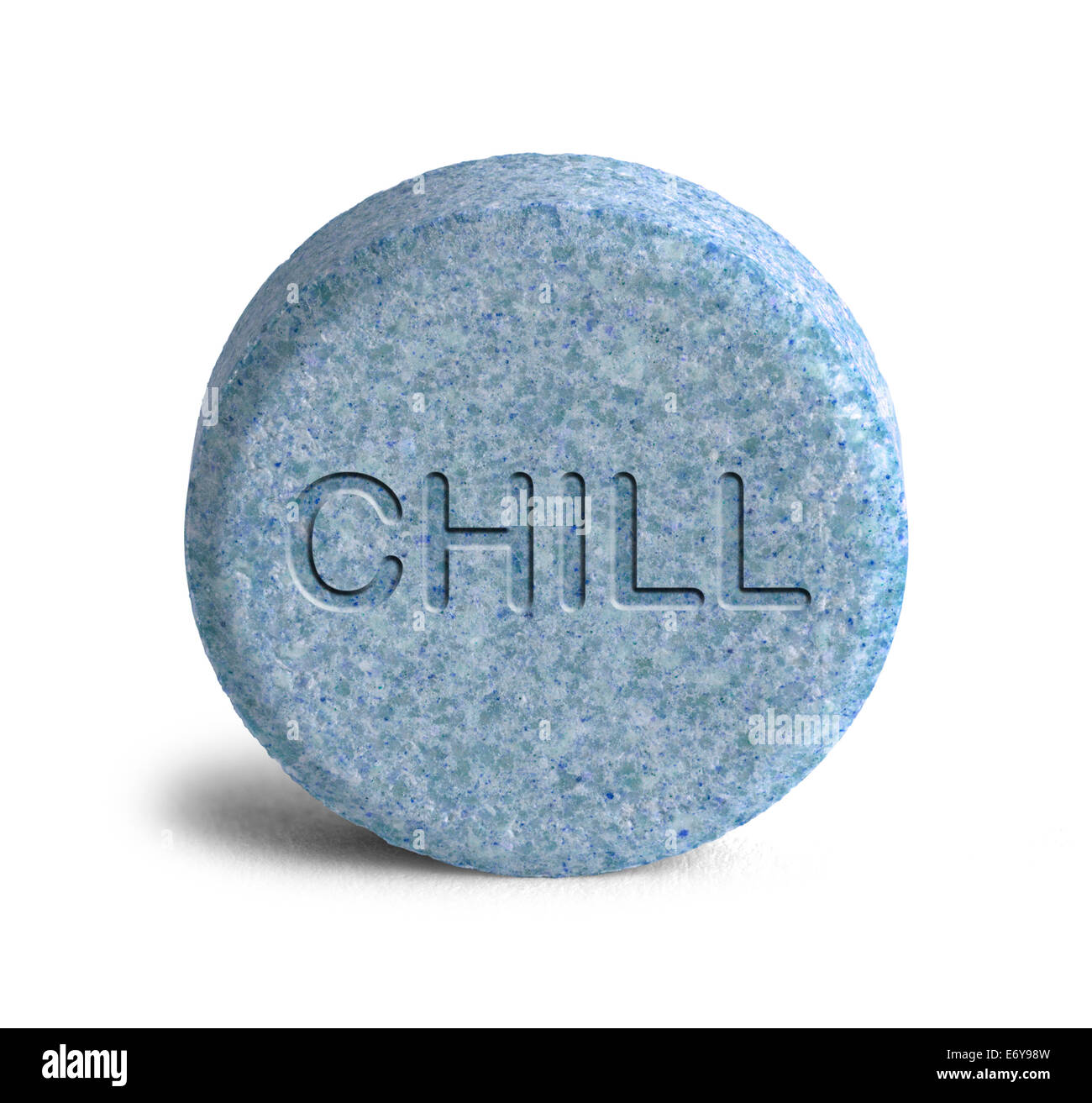 Large Blue Chill Pill Isolated on White Background. - Stock Image