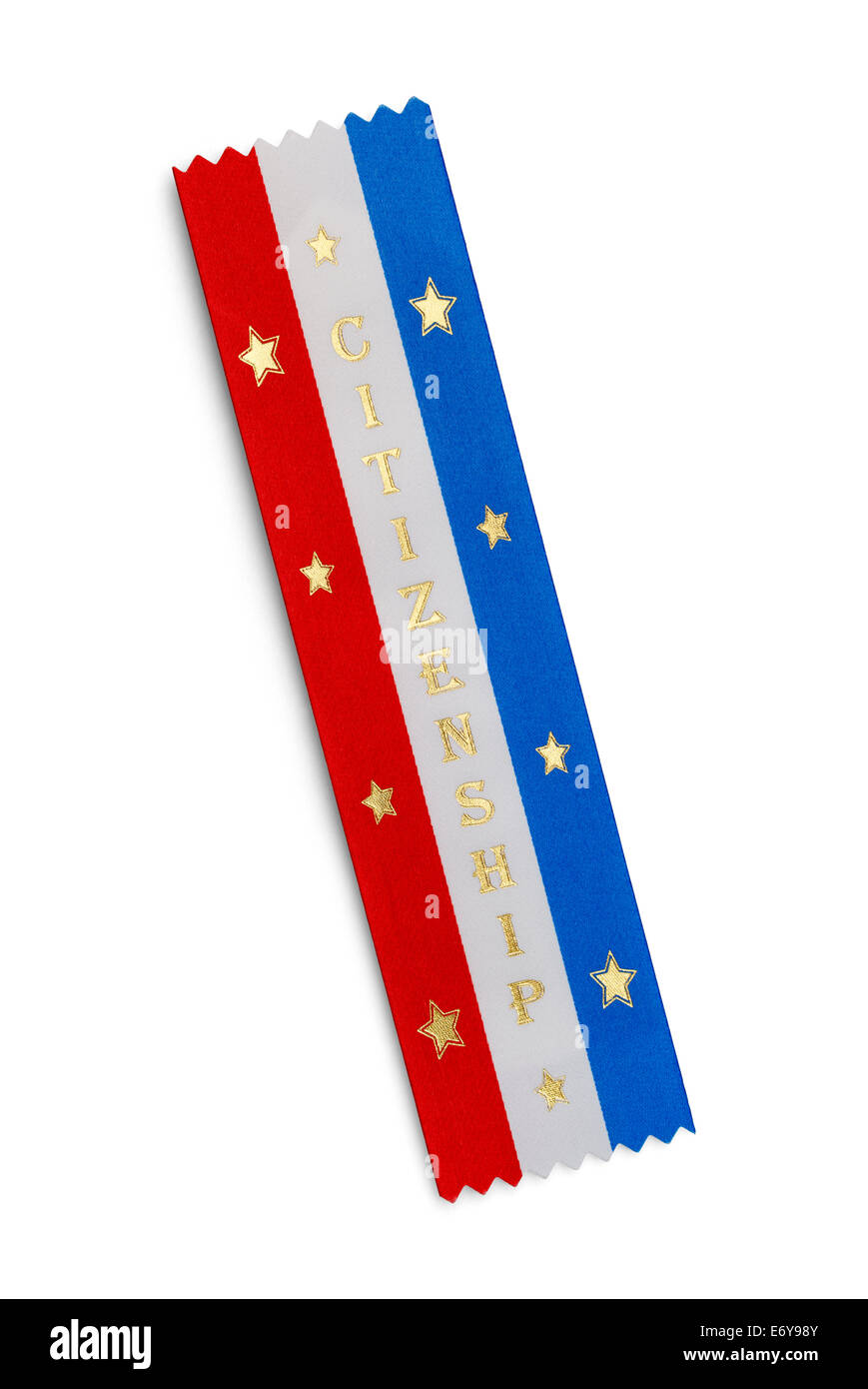 Red White and Blue Citizenship Ribbon With Stars Isolated on White Background. - Stock Image