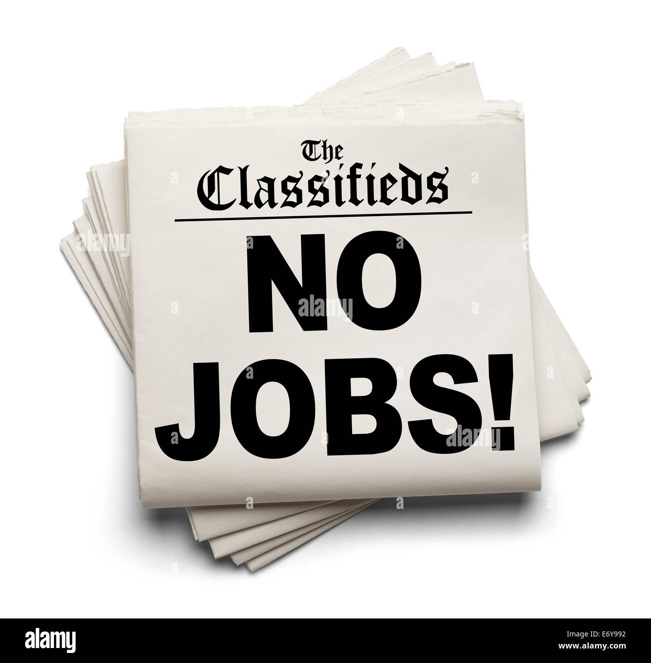 Newspaper Classifieds No Jobs Headline Isolated on White Background. - Stock Image