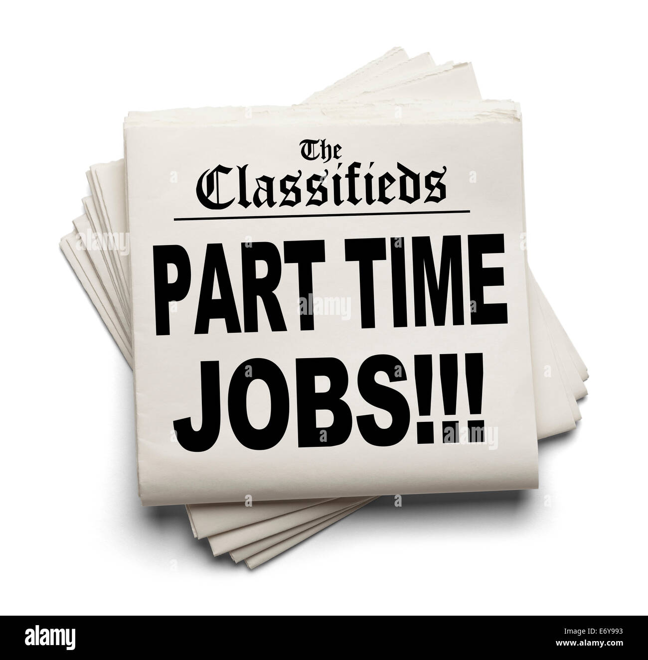 Newspaper Classifieds Part Time Jobs Headline Isolated on White Background. - Stock Image