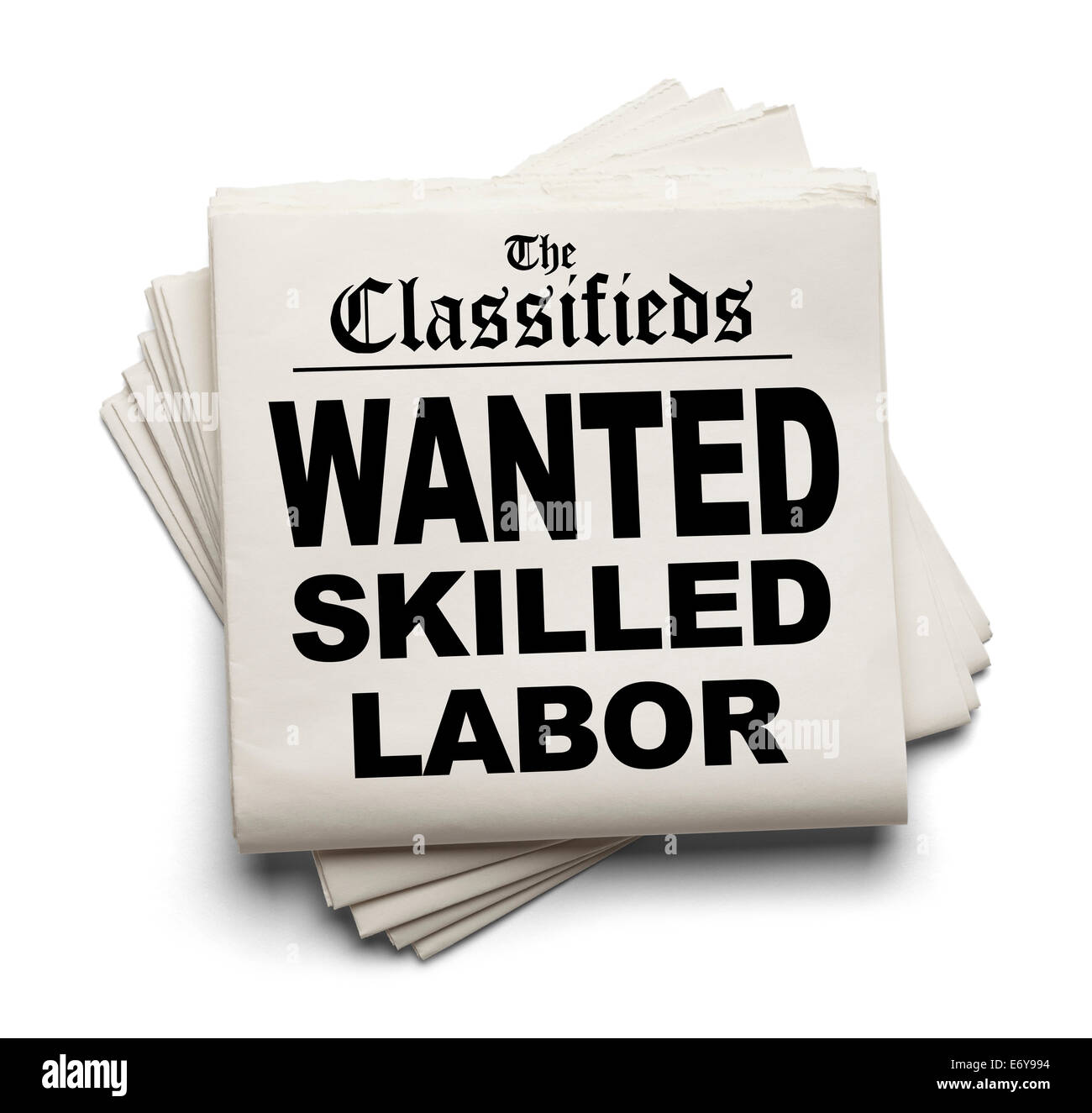 Newspaper Classifieds with Wanted Skilled Labor Headline Isolated on White Background. - Stock Image