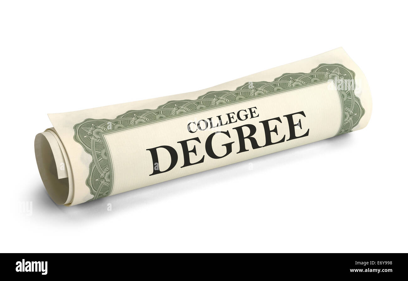 Rolled up College Diploma Scroll Isolated on White Background. - Stock Image