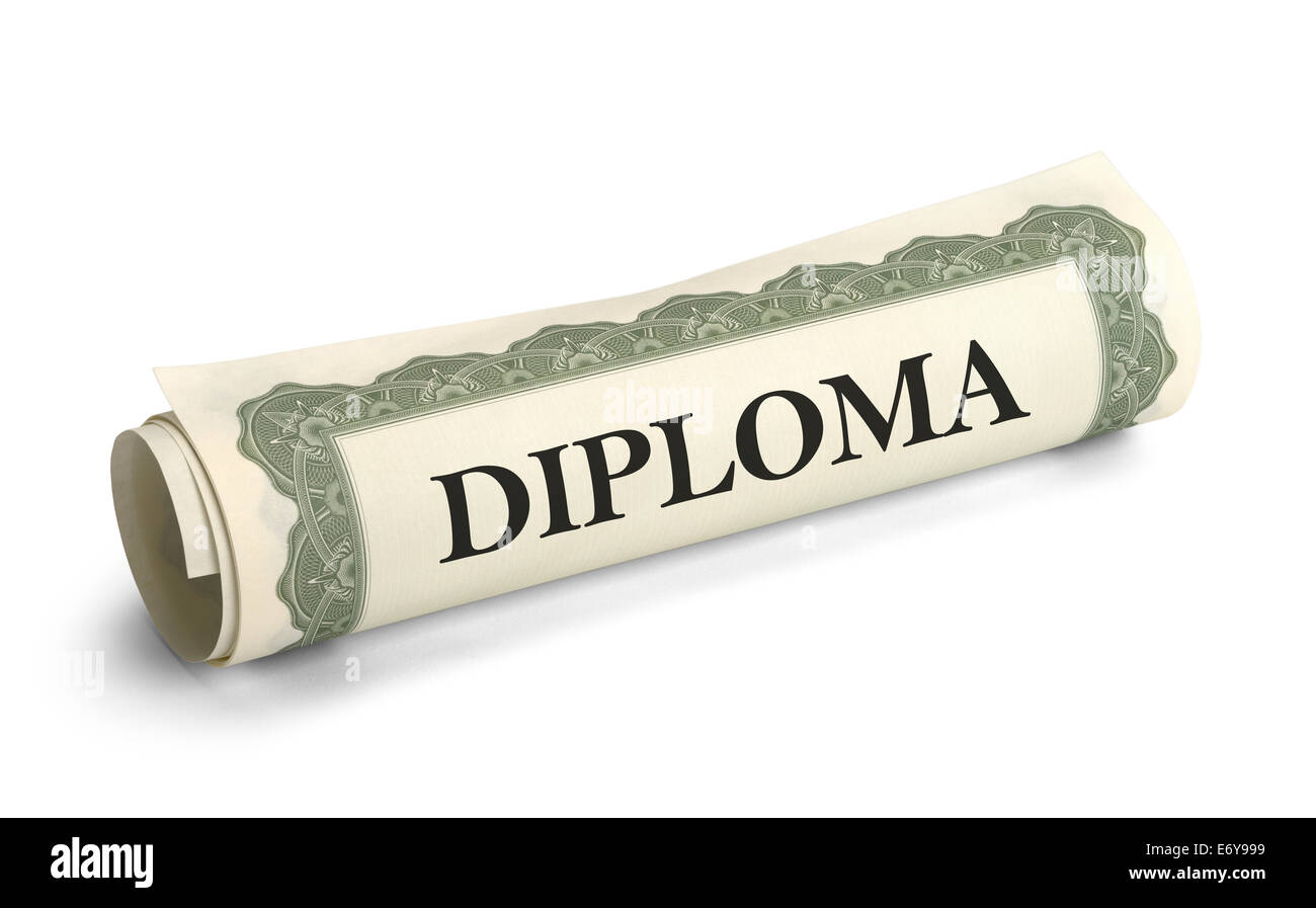 Rolled up Graduation Diploma Scroll Isolated on White Background. - Stock Image