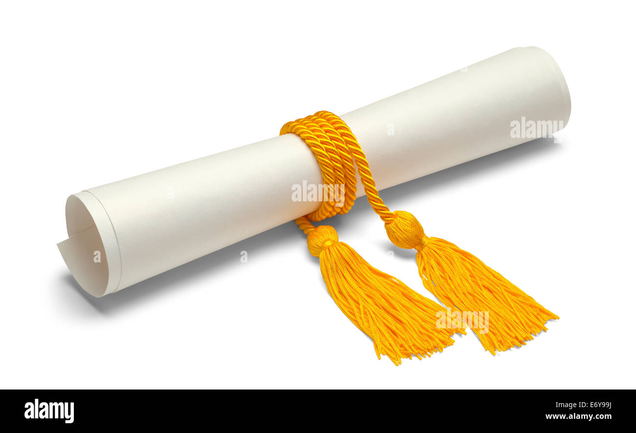 Diploma with Gold Honor Cords Isolated on White Background. - Stock Image