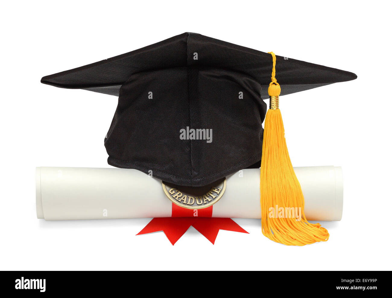 Graduation Hat and Diploma Front View Isolated on White Background. - Stock Image